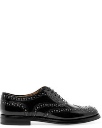 Church's Burwood Met Studded Glossed Leather Brogues Black