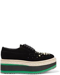 Prada Embellished Velvet Platform Brogues Black