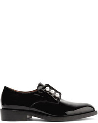 Givenchy Faux Pearl Embellished Patent Leather Brogues Black