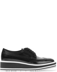 Prada Glossed Leather Platform Brogues Black