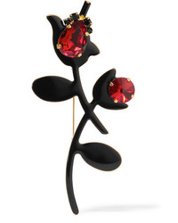 Marni Gold Plated Enamel And Crystal Brooch Black