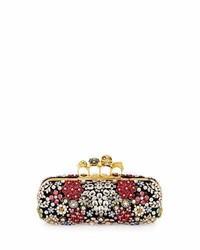 Alexander McQueen Knuckle Box Brooch Crystal Clutch Bag Black