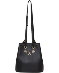 Charlotte Olympia Black Feline Bucket Bag