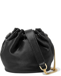 Diane von Furstenberg Love Power Mini Leather Trimmed Satin Bucket Bag Black