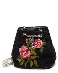 Saint Laurent Rose Embroidered Wool Bucket Bag