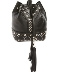 Saint Laurent Small Y Stud Calfskin Bucket Bag Black