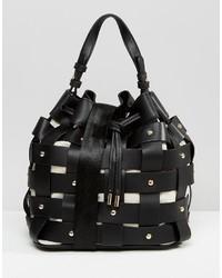Mango Weaved Stud Bucket Bag