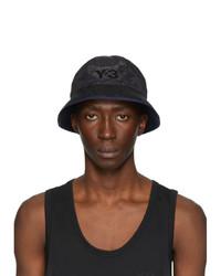 Y-3 Black And Navy Logo Bucket Hat