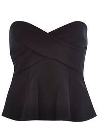 River Island Black Bandeau Wrap Peplum Top
