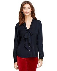Brooks Brothers Bow Front Silk Blouse