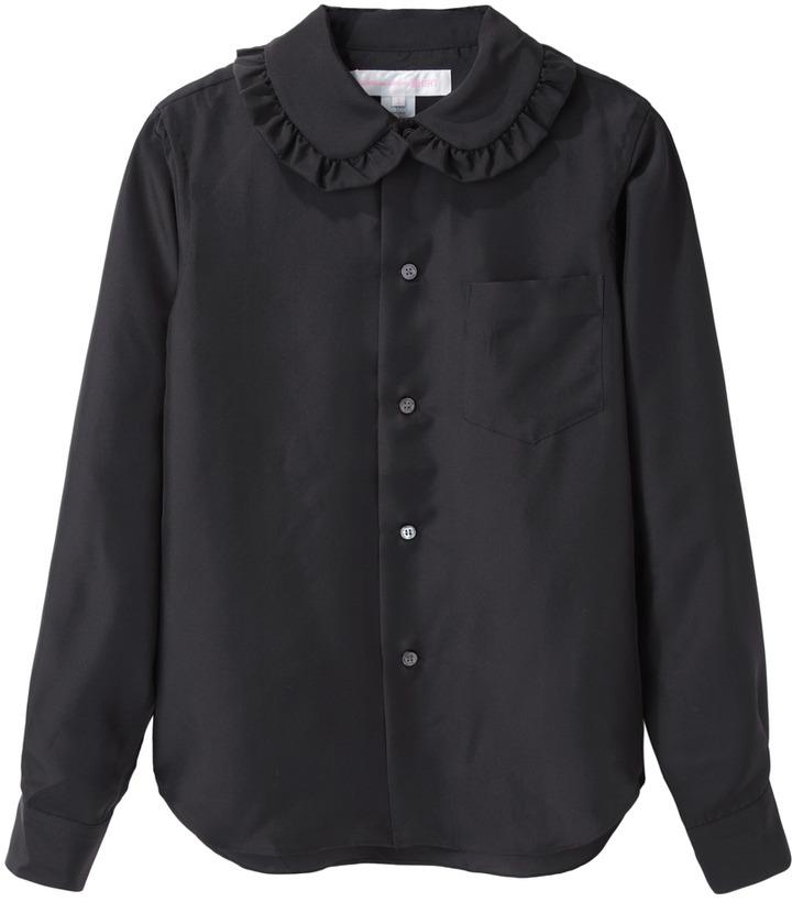 Black button down blouse comme des garcons comme des for Black silk button down shirt