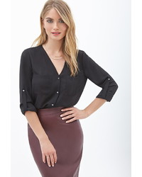 Forever 21 Contemporary Buttoned Pocket Blouse