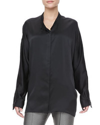 Haider Ackermann Satin Covered Button Blouse