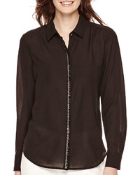 Liz Claiborne Long Sleeve Beaded Blouse