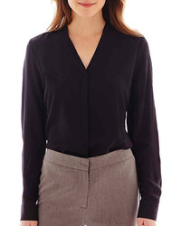 jcpenney Worthington Long Sleeve Button Front Blouse