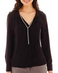 jcpenney Worthington Long Sleeve V Neck Blouse With Necklace