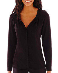 Worthington Worthington Long Sleeve V Neck Crepe Blouse Tall