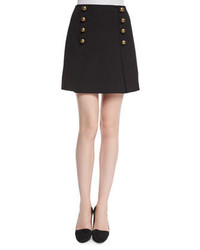 Nanette Lepore A Line Mini Skirt With Button Detail