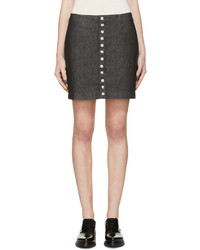 Versus Black Button Denim Skirt