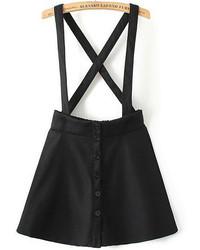 Black Strap Plaid Buttons Skirt