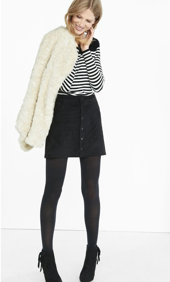 a367c0e66 Button Front Faux Suede A Line Skirt, $49 | Express | Lookastic.com