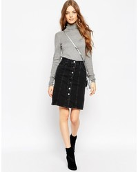 Asos Collection Denim Polly A Line Button Through Midi Skirt In Washed Black