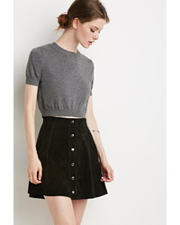Forever 21 Contemporary Buttoned Suede Skirt