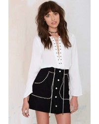 Nasty Gal Ladyland Suede Skirt Black