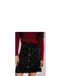 4e7f6a1d4c Missguided Cord Button A Line Mini Skirt Black, $37 | Missguided ...
