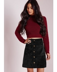 Missguided Cord Button A Line Mini Skirt Black
