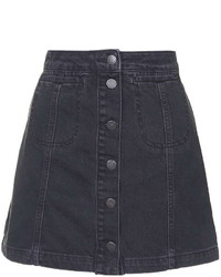 Moto Black Button Front Skirt