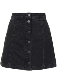 Petite Moto Black Button Front Skirt
