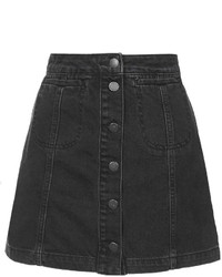 Tall Moto Black Button Front Skirt
