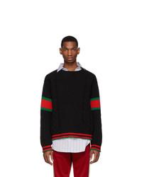Gucci Black Cable Knit Web Sweater