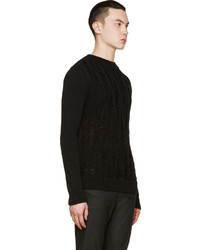 Saint Laurent Black Open Cable Knit Crewneck Sweater | Where to ...