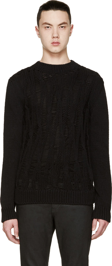 crew neck sweater - Black Saint Laurent