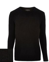 River Island Black Ribbed Crew Neck Sweater