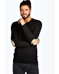 Boohoo Cable Jumper With Shoulder Patches