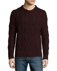 Vince Cable Knit Wool Pullover Sweater Black Cherry