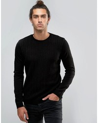 Asos Cable Sweater In Black