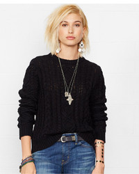Denim & Supply Ralph Lauren Distressed Cable Knit Sweater