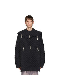 Raf Simons Grey Wool Heart Honey Stitch Sweater