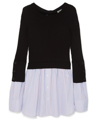 Kenzo Layered Ribbed Cotton Blend Knit And Cotton Poplin Sweater