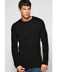 Boohoo Textured Mixed Yarn Crew Neck Sweater