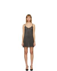 Alanui Black Sheer Glitter Slip Dress