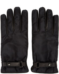 Valentino Black Nylon Leather Camo Gloves