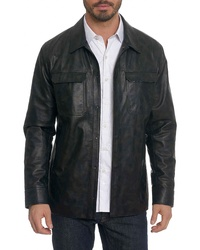 Robert Graham Colden Camo Leather Shirt Jacket