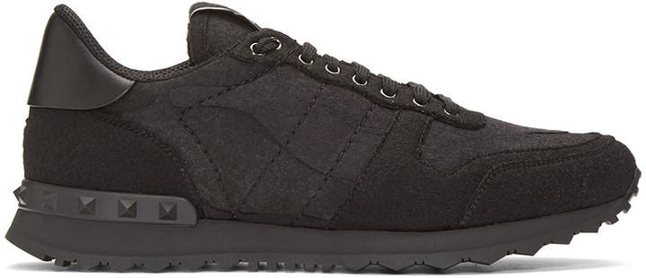 b8e9757925d7 ... Valentino Black Felt Camo Rockrunner Sneakers ...