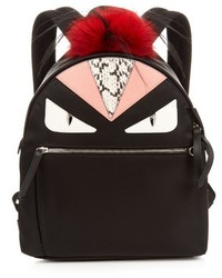 Fendi Bag Bugs Nylon And Fur Backpack