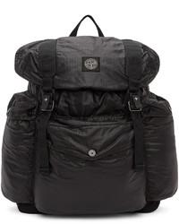 Stone Island Black Mussola Gommata Canvas Backpack